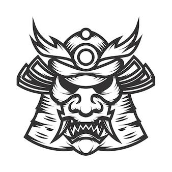 Samuraja hełma ilustracja na białym tle. element logo, etykieta, godło, znak. ilustracja