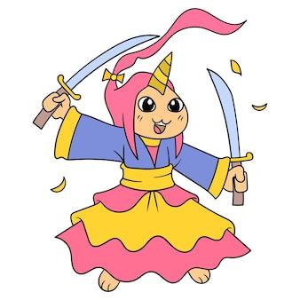 Samurajów wojowników niosących dwa miecze gotowe do bitwy, ilustracji wektorowych sztuki. doodle ikona obrazu kawaii.