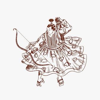 Samurajowie wojownicy z szkicem broni