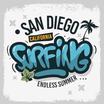 San diego kalifornia stany zjednoczone usa surfing surf design ręcznie rysowane napis typ logo znak etykieta dla promocji reklamy t shirt lub naklejka plakat obraz