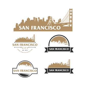 San francisco skyline logo pejzaż miejski i zabytki sylwetka wektor ilustracja