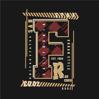 San francisco streszczenie graficzny t shirt typografia projekt ilustracji wektorowych