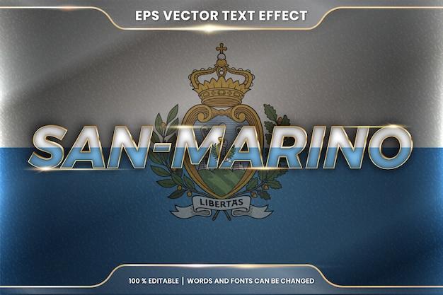 San marino z flagą narodową kraju, edytowalny styl efektu tekstowego z koncepcją gradientu koloru złota