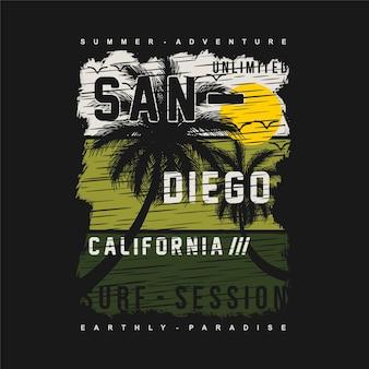 Sandiego california projektowanie graficzne surfing plaża t shirt wektory letnia przygoda