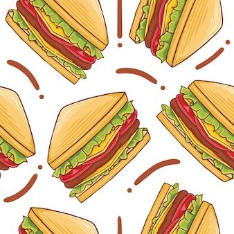 Sandwich fast food seamless pattern w stylu płaskiej konstrukcji