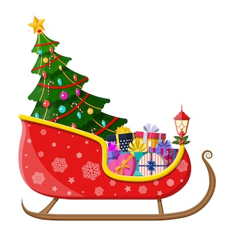 Sanie mikołajowe z pudełkami na prezenty z kokardkami i choinką. dekoracja szczęśliwego nowego roku. wesołych świąt bożego narodzenia. nowy rok i święta bożego narodzenia.