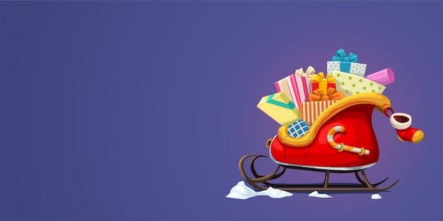 Sanie świętego mikołaja z prezentami na fioletowym grzbiecie