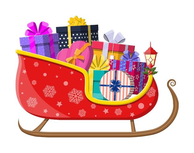 Sanie świętego mikołaja z pudełkami na prezenty z kokardkami. dekoracja szczęśliwego nowego roku. wesołych świąt bożego narodzenia. nowy rok i święta bożego narodzenia.