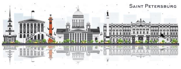 Sankt petersburg rosja skyline z szarymi budynkami na białym tle. ilustracja wektorowa. koncepcja podróży służbowych i turystyki. sankt petersburg gród z zabytkami.