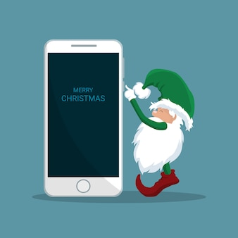 Santa claus elf naciskając telefon