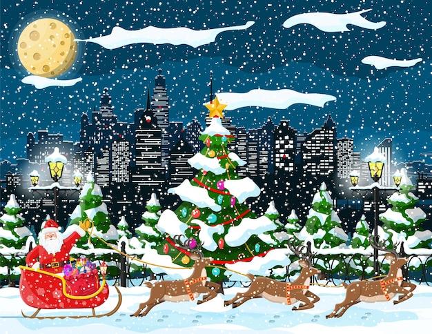 Santa claus jeździ reniferami ilustracja sanie