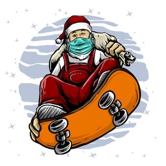 Santa claus jeździć na deskorolce nosić maskę na ilustracji pandemii wirusa