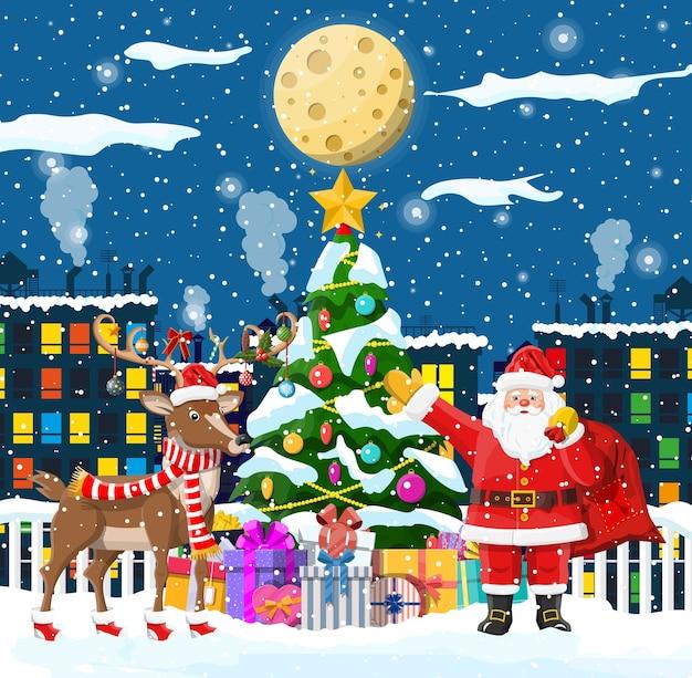 Santa claus jodły z prezentami i jego reniferami