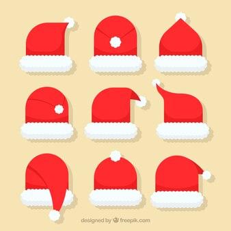 Santa claus kapelusz kolekcji w płaskim stylu