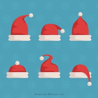 Santa claus kapelusz w płaskim stylu