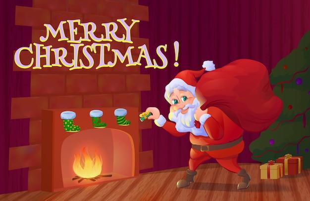 Santa claus kładzenie prezent na boże narodzenie