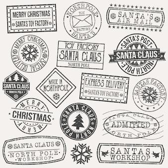 Santa claus pocztówka pieczęć sztuka wektor wzór retro opłata pocztowa