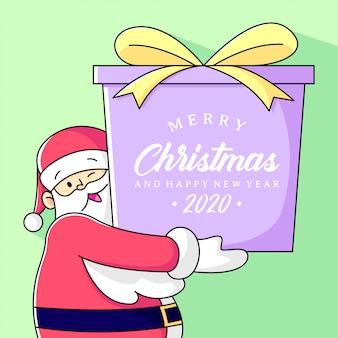 Santa claus przyjmuje dużą obecność świąteczną i szczęśliwego nowego roku pozdrowienia tekstu.