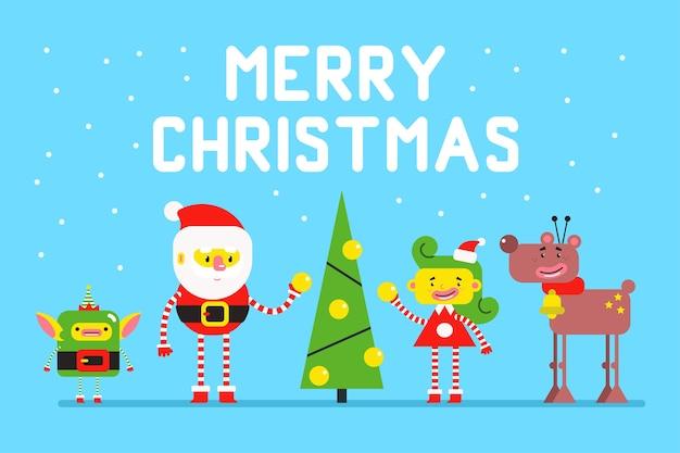 Santa claus rodziny boże narodzenie kartkę z życzeniami.
