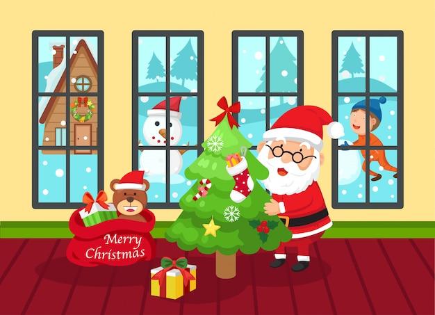 Santa Claus Szczęśliwy Nowy Rok I Wesoło Boże Narodzenia Premium Wektorów