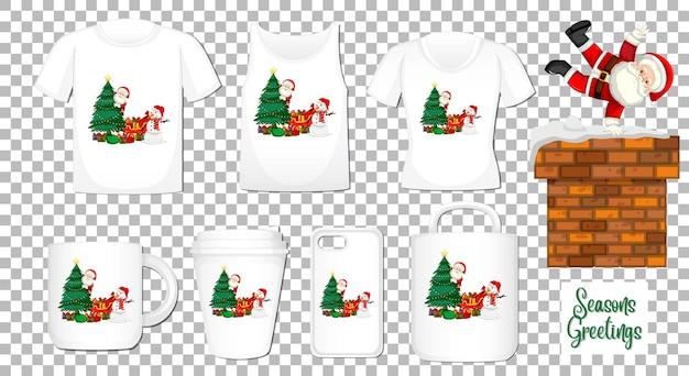 Santa claus taniec postać z kreskówki z zestawem różnych produktów odzieżowych i akcesoriów
