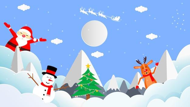 Santa cross, renifer, snowman i choinka na niebie przed księżycem w pełni.