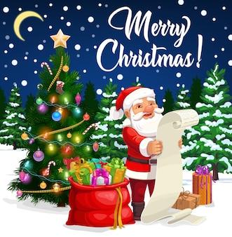 Santa czytanie kartki świąteczne życzeniami listy życzeń.