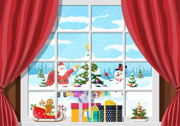 Santa i bałwan wygląda w oknie salonu. pokój z choinką i prezentami. wesołych świąt bożego narodzenia