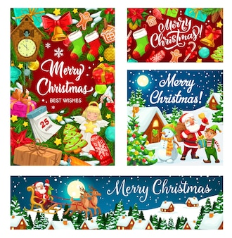 Santa i bałwan z choinką i projekt prezentów na boże narodzenie i nowy rok. prezentowe pudełka, dzwonki i kalendarz, laski cukierków, pierniki i śnieg, gwiazdki, piłki i sanie z reniferem, elf i skarpeta