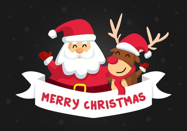 Santa i boże narodzenie renifer wesołych świąt ilustracja kreskówka wektor