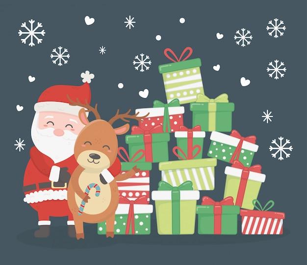 Santa i renifer z brogującymi prezentami ilustracyjnymi
