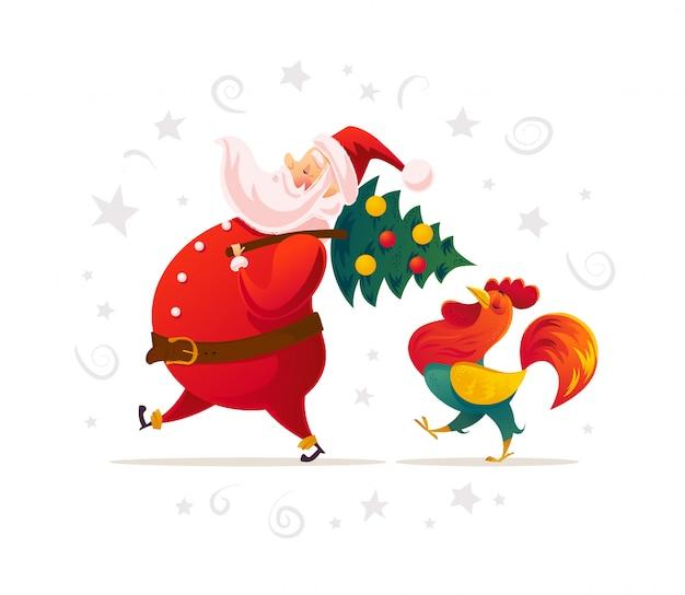 Santa i zabawny portret postaci koguta na białym tle. styl kreskówki. nowy rok, wesołych świąt, element gratulacyjny boże narodzenie. dobry na kartkę świąteczną, przezroczysty,.