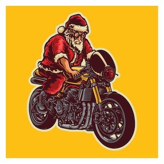 Santa jazda rowerem ilustracja