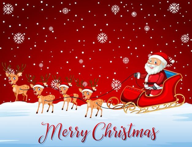 Santa jedzie sanie na czerwonym szablonie
