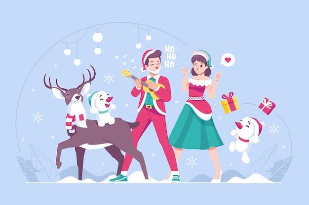 Santa jelenie i słodkie bałwan ilustracja tło