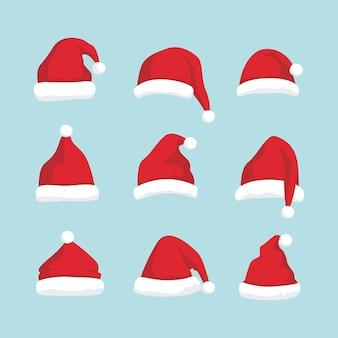 Santa kapelusz zestaw ilustracji