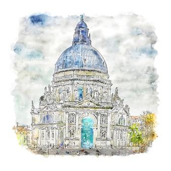 Santa maria della salute szkic akwarela ręcznie rysowane ilustracja