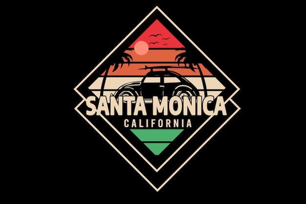 Santa monica w kalifornii kolor pomarańczowy i zielony jasnobrązowy
