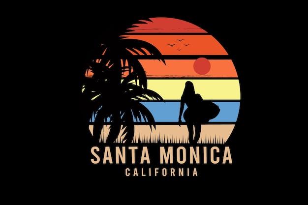Santa monica w kalifornii kolor pomarańczowy i żółty niebieski