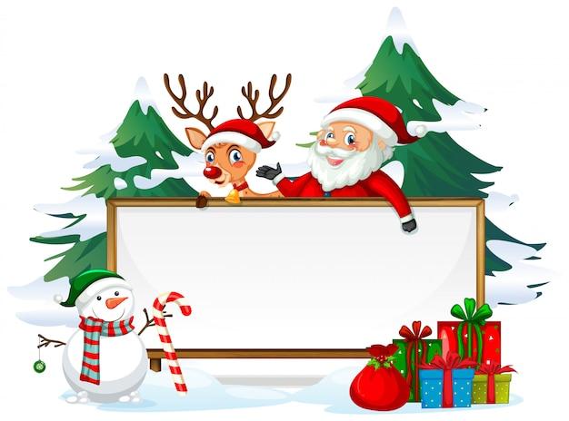 Santa Na Drewnianej Desce Premium Wektorów