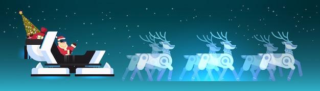 Santa nosić okulary cyfrowe w robotyczne nowoczesne sanie wirtualnej rzeczywistości reniferów wesołych świąt szczęśliwego nowego roku pozdrowienie zimowe wakacje poziome płaskie ilustracji wektorowych