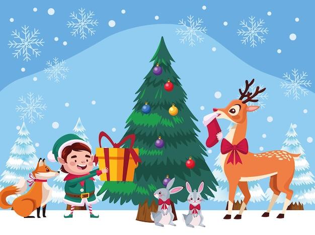 Santa pomocnik ze zwierzętami i ilustracją choinki sosny