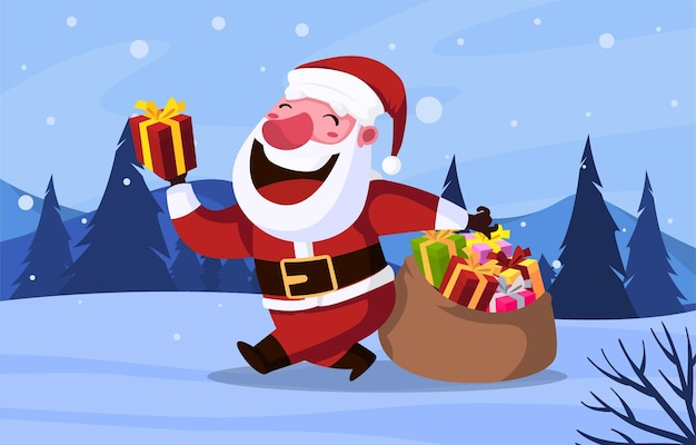 Santa przynosi świąteczny prezent ilustracja