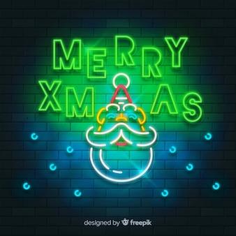 Santa's broda bożego narodzenia neonowy znak