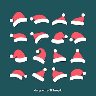 Santa's hat boże narodzenie kolekcja w płaskiej konstrukcji