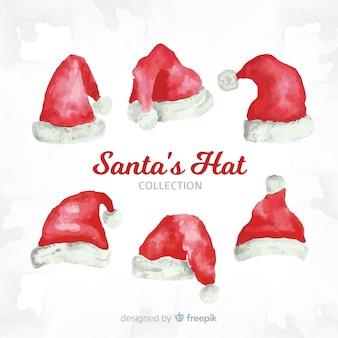 Santa's hat świąteczne zbiory w akwareli