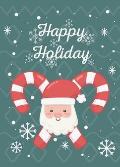 Santa stawia czoło cukierek trzciny ilustracyjne