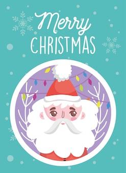 Santa stawia czoło i płatek śniegu wesoło boże narodzenia ilustracyjnych