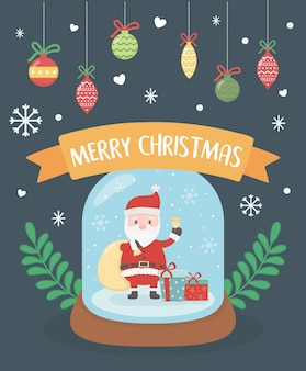 Santa w kryształowej kuli z wiszącymi piłkami ilustracyjnymi