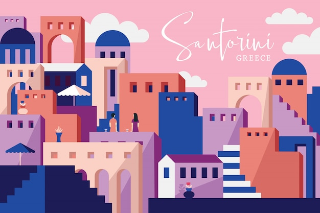 Santorini wektorowa ilustracja